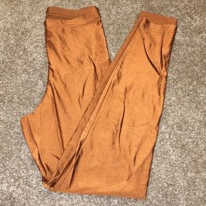 American Apparel copper leggings with a sheen